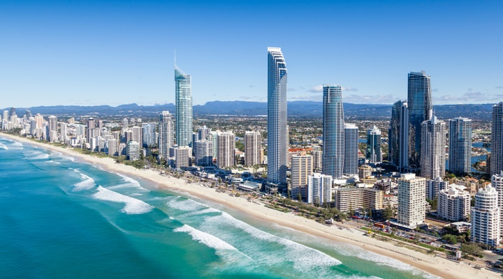 Aerial view of Surfers Paradise on the Gold Coast