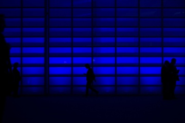 silhouette of people in building